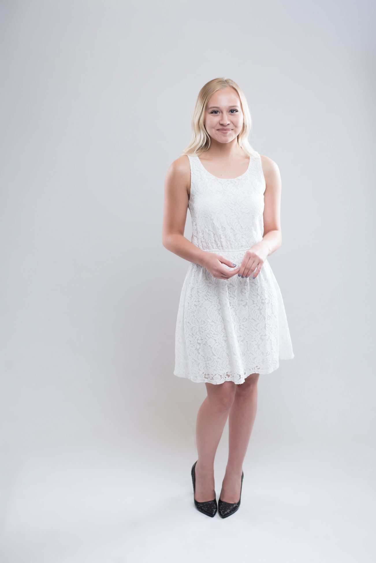 Girl in a white dress portrait by Purple Moss Photography